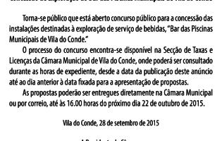 Concessão de Exploração do Bar das Piscinas Municipais de Vila do Conde
