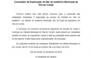 Concessão de Exploração do Bar do Auditório Municipal de Vila do Conde