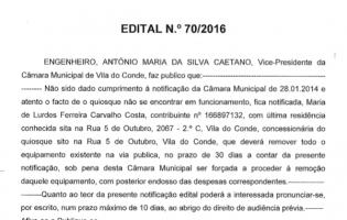 Edital n.º 70/2016 – Câmara Municipal de Vila do Conde