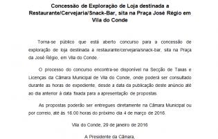 Concessão de Exploração de Loja destinada a Restaurante/Cervejaria/Snack-Bar, sita na Praça José Régio em Vila do Conde