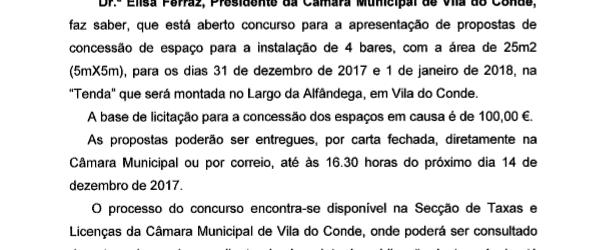 Concessão de Espaço Público – Bares Passagem de Ano 2017/2018